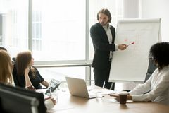Company executive or business coach presenting new client manage. Ment strategy to project team at board meeting, serious businessman giving presentation royalty free stock photography