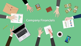 Company financials illustration vector with notebook, paperworks and money on top of table Stock Photos
