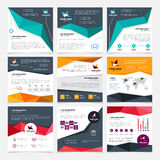 Company Flyer Templates Set. With mission and data symbols flat isolated vector illustration Stock Image