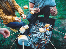Company of friends by campfire making fried marshmallows Stock Photography