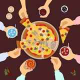 Friends eating pizza. Company of friends eating pizza top view. Vector illustration eps 10 Stock Images