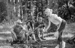 Company friends having hike picnic nature background. Summer picnic. Hikers relaxing during snack time. Tourists hikers stock photography