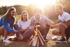 Company friends prepare roasted marshmallows snack isolated on nature background, youth group sitting around bonfire and. Comunicating, have picnic together stock photo