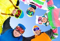 Company of friends on ski holiday royalty free stock photos