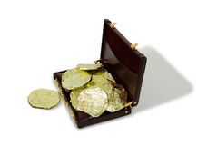 Company funds. Closeup of a gold coins purchased as an investment, burgandy leather Briefcase used to carry items to the office Stock Photo