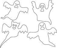 The company of ghosts. A vector illustration. Black-and-white variant Stock Image