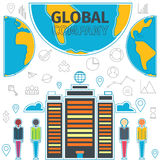 Company Global Concept. Global business icons set. Corporation and people of different races on the globe. Thin Line concept of global company. Flat line vector Stock Photos
