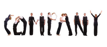 Company group. Young business people forming Company word over white Stock Photo