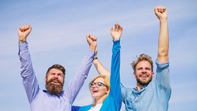 Company happy colleagues office workers enjoy freedom friday evening, sky background. Men with beard in formal wear and. Girl finished working week. Employees royalty free stock photos