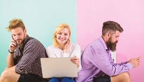 Company happy friends with mobile gadgets laptop. Men and woman have access to network from everywhere. Modern. Technology. Internet benefits. Modern society royalty free stock photo