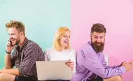 Company happy friends with mobile gadgets laptop. Modern society can not imagine life without internet. Men and woman royalty free stock images