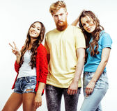 Company of hipster guys, bearded red hair boy and girl students having fun together friends, diverse fashion style Royalty Free Stock Photo