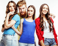 Company of hipster guys, bearded red hair boy and girl students having fun together friends, diverse fashion style Stock Image