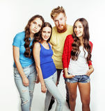Company of hipster guys, bearded red hair boy and girls students having fun together friends, diverse fashion style Royalty Free Stock Images