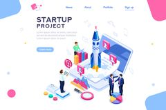 Company Teamwork Launch Homepage Template. Space dashboard for tech teamwork, ux at new launch of company. Homepage for a product, start a conceptual project on vector illustration