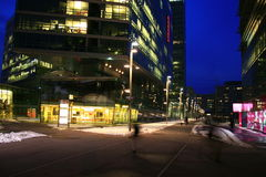 Company HQ in Vienna, Austria. The company headquarters of Strabag constructions in Vienna, Austria at night Stock Photo