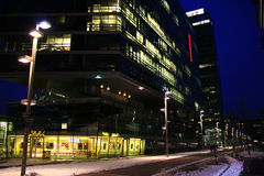 Company HQ in Vienna, Austria. The company headquarters of Strabag constructions in Vienna, Austria at night Royalty Free Stock Photos