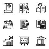 Company icon set, outline style vector illustration
