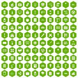 100 company icons hexagon green. 100 company icons set in green hexagon isolated vector illustration Stock Image