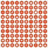 100 company icons hexagon orange. 100 company icons set in orange hexagon isolated vector illustration Stock Photography