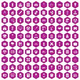 100 company icons hexagon violet. 100 company icons set in violet hexagon isolated vector illustration royalty free illustration