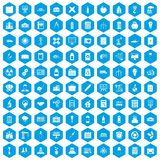 100 company icons set blue. 100 company icons set in blue hexagon isolated vector illustration vector illustration