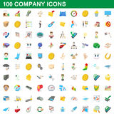 100 company icons set, cartoon style. 100 company icons set in cartoon style for any design vector illustration Royalty Free Stock Images