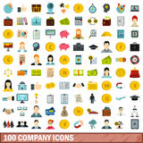 100 company icons set, flat style. 100 company icons set in flat style for any design vector illustration Royalty Free Stock Images