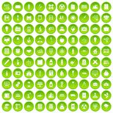 100 company icons set green circle. Isolated on white background vector illustration Vector Illustration