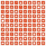 100 company icons set grunge orange. 100 company icons set in grunge style orange color isolated on white background vector illustration royalty free illustration