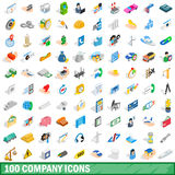 100 company icons set, isometric 3d style. 100 company icons set in isometric 3d style for any design vector illustration Royalty Free Illustration