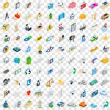 100 company icons set, isometric 3d style. 100 company icons set in isometric 3d style for any design vector illustration stock illustration