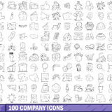 100 company icons set, outline style Royalty Free Stock Photo