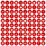 100 company icons set red. 100 company icons set in red circle isolated on white vector illustration Stock Photos