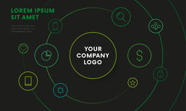 Company infographic overview design template with icons. Circle design. Dark version. Vector. Royalty Free Stock Photos