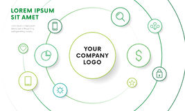 Company infographic overview design template with icons. Circle design. Vector. Royalty Free Stock Images
