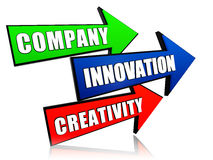 Company, innovation and creativity in arrows Stock Images