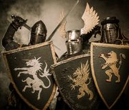 Company of knights. Picture of three medieval knights Stock Photos