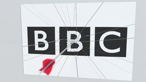Archery arrow hits plate with BBC logo. Corporate problems conceptual editorial animation. Company logo being hit by archery arrow. Business crisis conceptual stock illustration