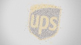 UPS logo being made with many numbers. Digital business conceptual editorial 3D rendering. Company logo being made with numbers. Digital business conceptual stock illustration