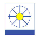 Company Logo Blue Yellow and White. It's a logo that you can use for your company. On the blue rectangle you can put the name of your company Stock Photos