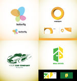 Company logo design elements icon set. Vector company logo icon element template butterfly spa beauty corporate business circle orange car auto automobile racing Stock Photo