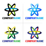 Company logo and icon element. Collection of 4 vector isolated abstract colorful orbit symbols with company name lettering on white background. Ideal for Royalty Free Stock Photography