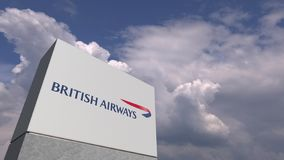 BRITISH AIRWAYS logo against sky background, editorial 3D rendering. Company logo made against sky background, conceptual editorial 3D vector illustration