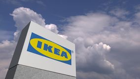 IKEA logo against sky background, editorial 3D rendering. Company logo made against sky background, conceptual editorial 3D stock illustration