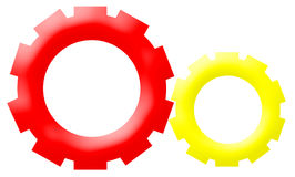 Company Logo - Mechanism Gear-Driven Wheels. Therea two mechanism, working toghether on a white background Stock Photos