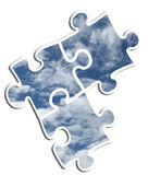 Company Logo - Sky Photo Puzzle. There are three plugs of a solid blue and white puzzle Stock Images
