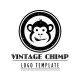 Company logo template with vintage styled cartoon chimp Royalty Free Illustration