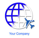 Company logo - Travel World. There is an airplane traveling around the world Royalty Free Stock Photos