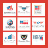 Company logos. A set or collection of nine different company logos with artistic designs Stock Photo